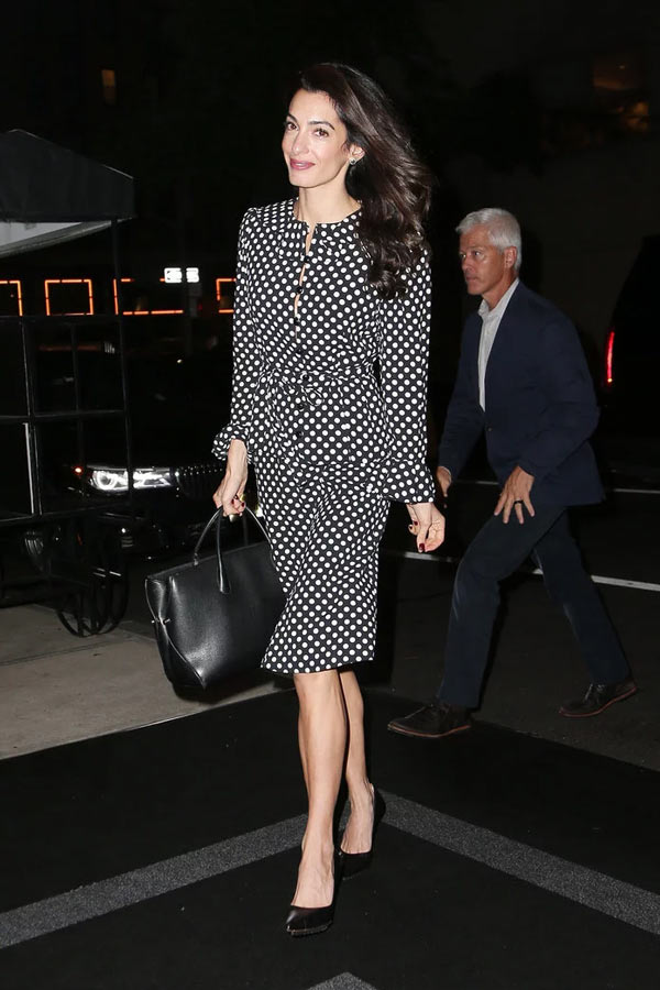 amal clooney polka dot dress