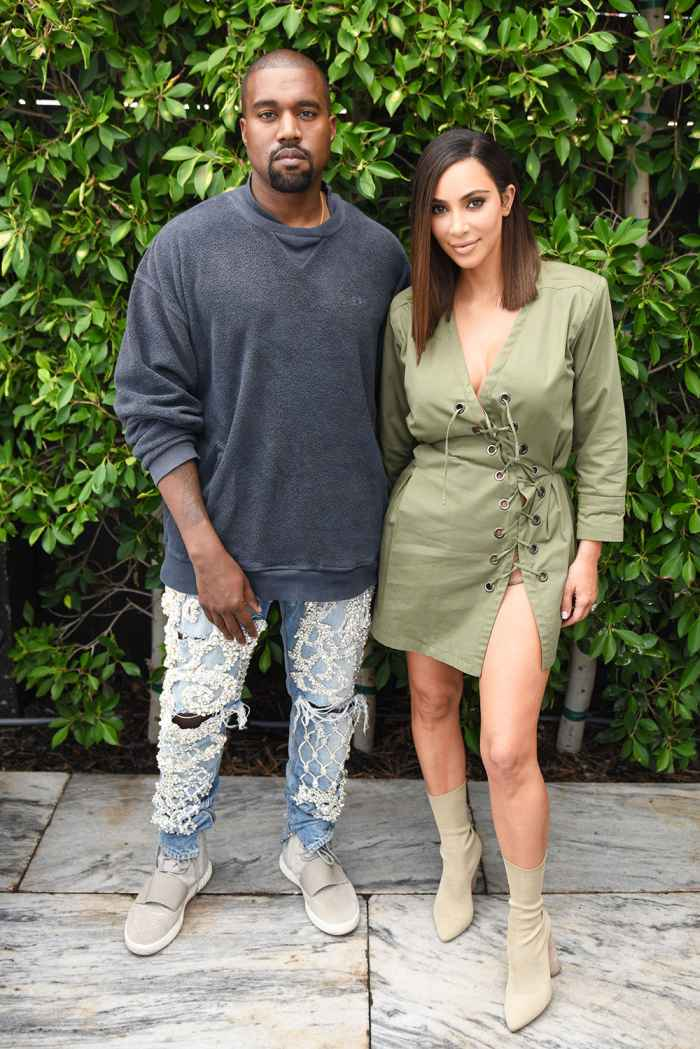 Kim Kardashian while with Kanye West going commando in a lace up dress