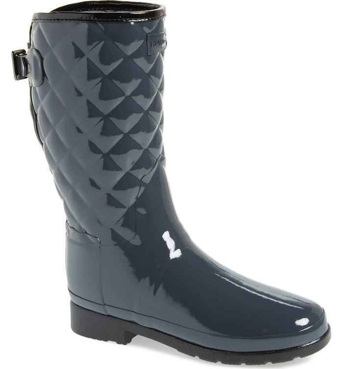 Refined High Gloss Quilted Short Rain Boots