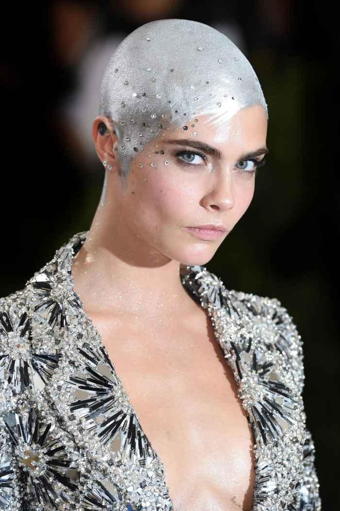 Cara Delevingne Painted Her Head Silver