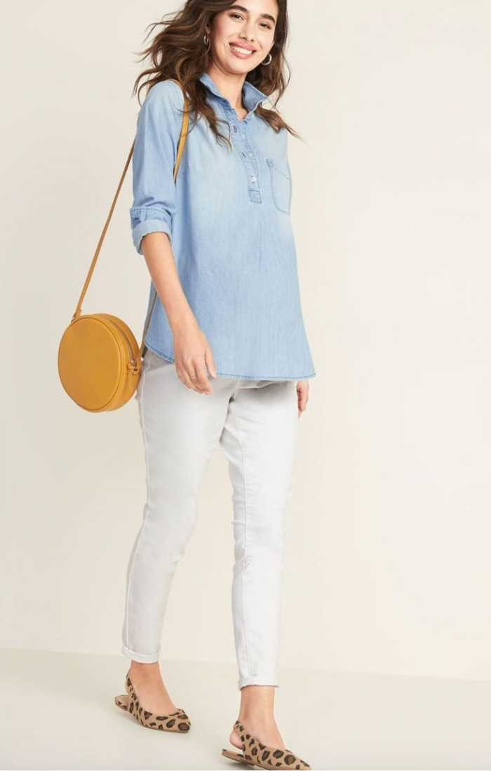Maternity Chambray Popover Shirt Pregnancy Outfits
